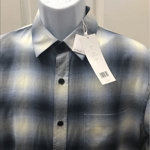 NEW wTag-Men's VINCE. Blue Plaid Button Shirt M